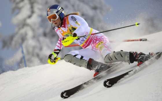лыжи, горные, девушка, горных, спорт, лыжах, горы, devushki, winter,