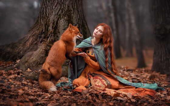 девушка, red, фокс, лес, волосы, коллекция, card, осень, фото