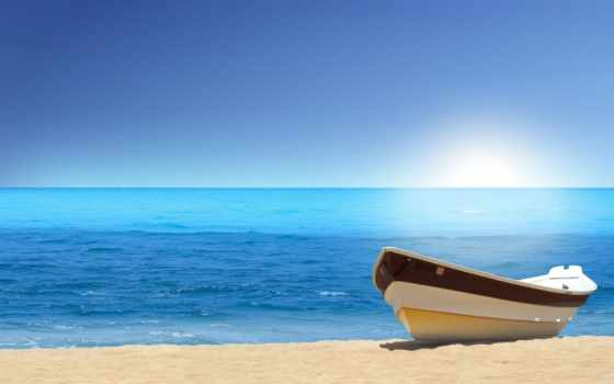 beach, boat