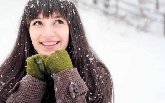 , женщина, devushka,, радост, снег, варежки, улыбка, радость,