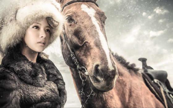 zima, снег, лошадь