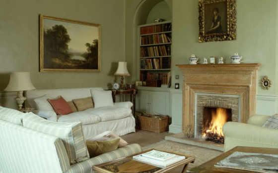интерьере, гостиной, камины