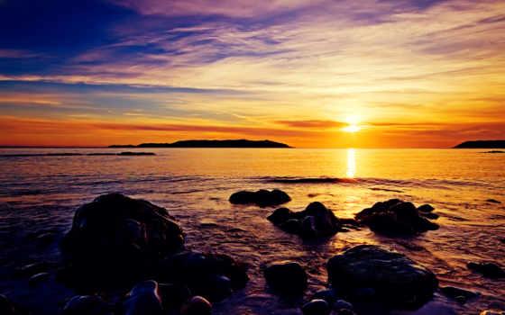 пляж, восход, природа