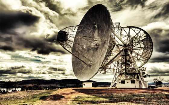 табличка, спутниковая, гигантская, космических, исследований, станция, спутниковые, назад, oblaka, hdr, антенна,
