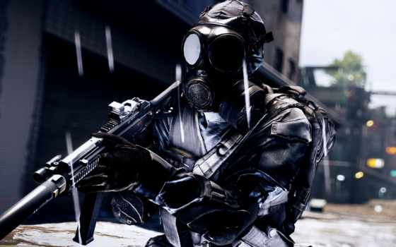 battlefield, games, солдат, маска, оружие,