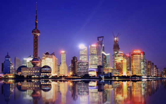 shanghai, город, china, collections, ночь, об,