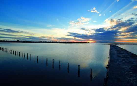 природа, clouds, море