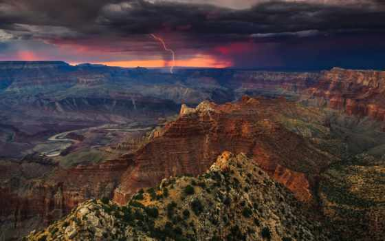 каньон, grand, rim, south, national, park, закат, самоа, американский, adam,