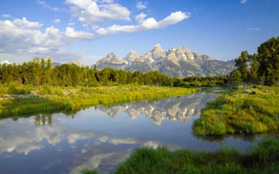 park, national, grand, teton, горы, лес, природа, озеро, широкоформатные, отражение, landscape,