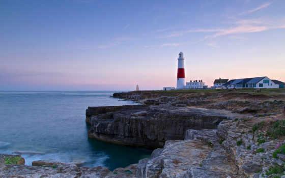 portland, англия, bill, побережье, канал, море, ocean, lighthouse,