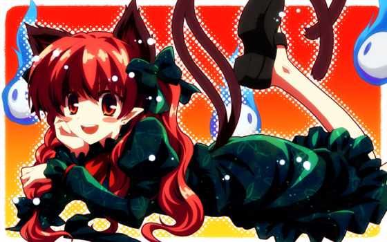touhou, ears, cat, hair, rin, kaenbyou, tails, tags, anime, tatsuya, yuuki, post,