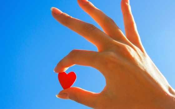 красное сердечко в её руках