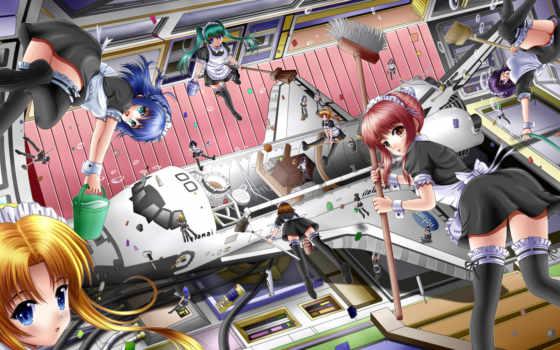 anime, девушки, shuttle