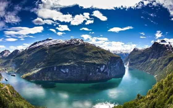горы, облака, красивые, landscape, вид, заставки, daily, ford, норвегия, залив,