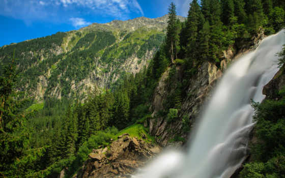 krimml, австрия, waterfalls, альпы, кримль, mountains, водопад, лес, austrian,