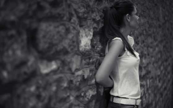 чёрно, настроения, девушка, white, brunette, волосы, стена, devushki, белое,