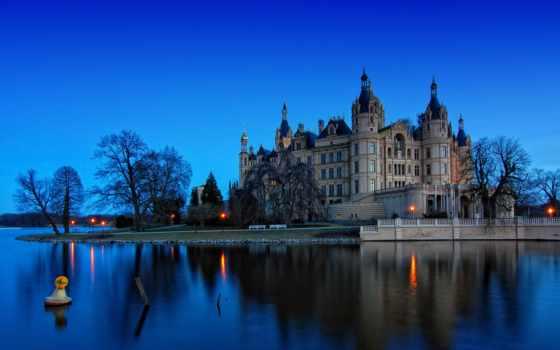 schwerin, reki, замки, побережье, ночь, german, города,