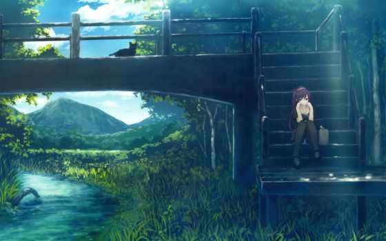 anime, monogatari, art, природа, кошки, ferryman, девушка, серия, мосты,