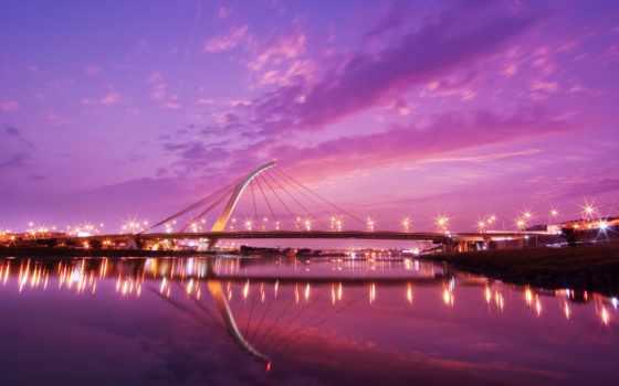 город, мост, огни, вечер, воде, отражаются, города,