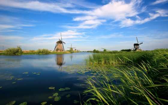 мельницы, река, ветряные, канал, берегу, голандия, природа,
