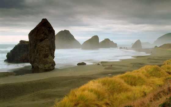 ocean, пляж, побережье, море, mac, desktop, стог, трава,