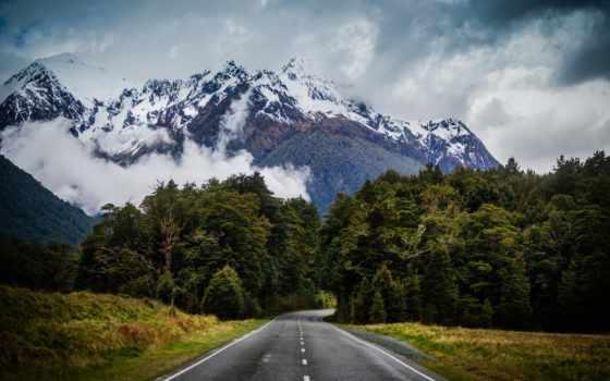 montanhas, paisagem, parede, árvores, céu, montanha, papel, floresta, estrada, lago, natureza,
