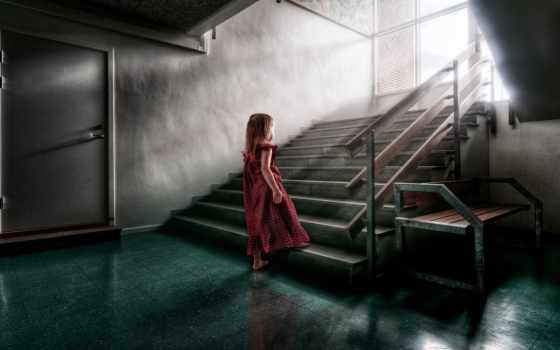 лестница, девушка, платье, reno, взлёт