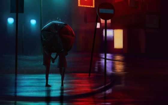 пара, дождь, ночь, зонтик, love, art, улица, огни, город