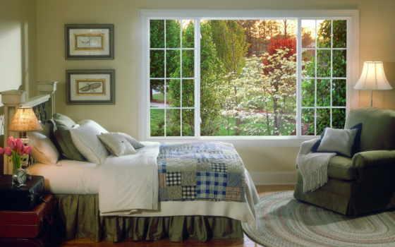 интерьер, дизайн, кровать, спальня, дома, шуй, комната,