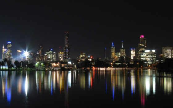 город, ночь, отражение
