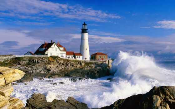 lighthouse, море, природа