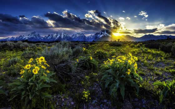 grand, teton, wyoming, national, park, mountains, скалистый, сша, state, горы,