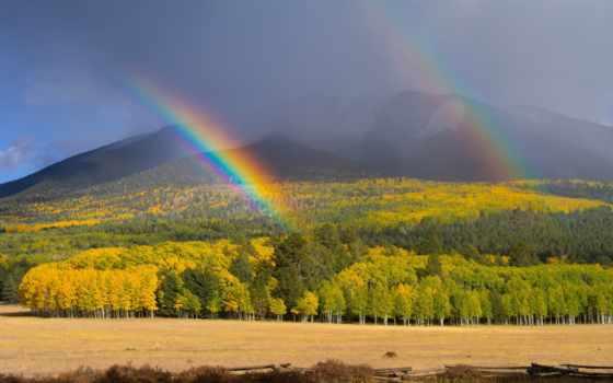 радуга, горы, небо, oblaka, радуги, две, холмы,