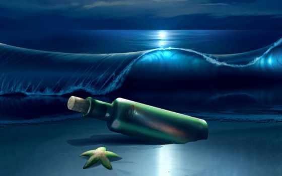 море, ночь, waves, пляж, star, морская, сердце,