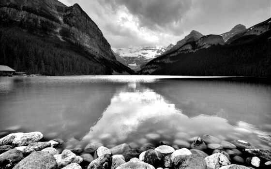 white, гора, landscape, black, коллекция, water, фото, озеро