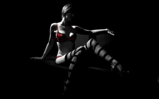 девушка,, чёрно, белые, бикини, красном, красное белье,
