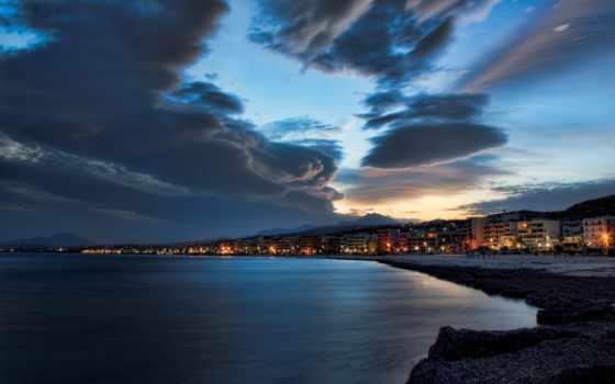 закат, красивый, город