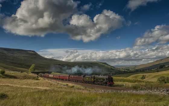поезд, landscape, англия, железный, railroad, разное, старый,
