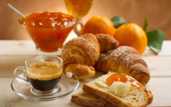 coffee, круассаны, джем, завтрак, круассаны, еда, cup, juice,