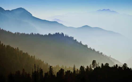 горы, природа, лес, landscape, эпл, trees, тумане, apple, yosemite, июл,