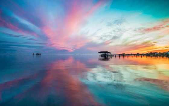 закат, море, розовое, заставки, небо, fone, неба, голубого, розово, firewatch, телефон,