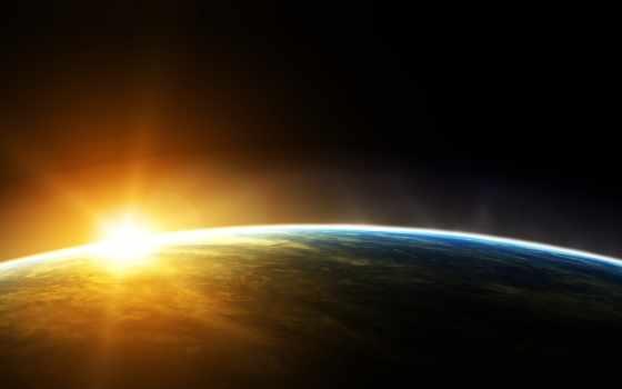 восход, космос, earth, outer, sun,