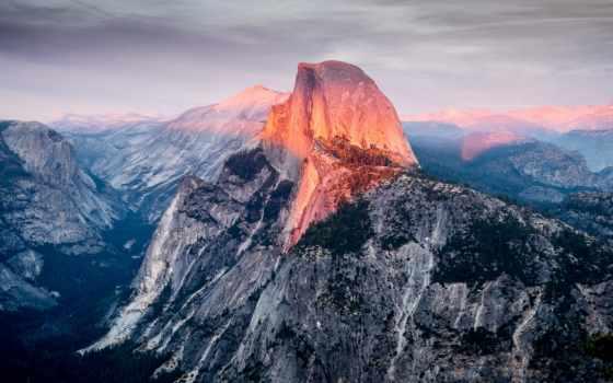 half, dome, yosemite, park, best, закат, national, гора, glacier, point