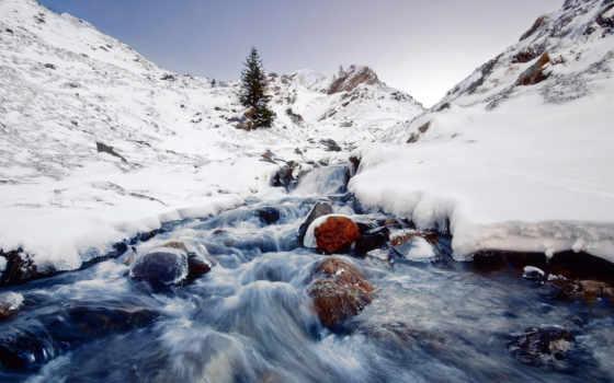 река, снег, winter