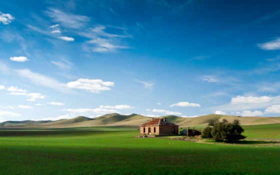house, поле, горы, lodge, дома, abandoned, небо, купить, хуторе, домов,