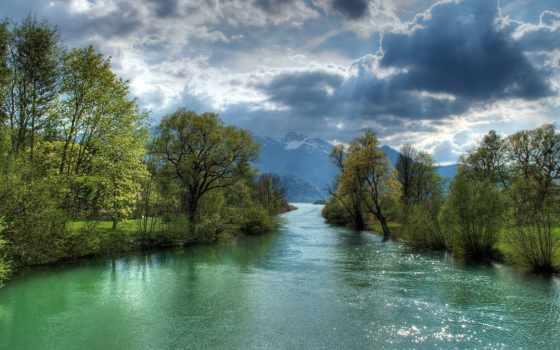 природа, озеро, горы, небо, рисунок, зелёный, rays, summer, цветы, бамбук,