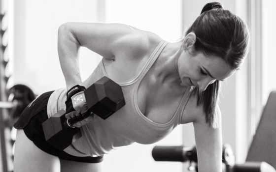 weights, тренировочный, strength, гантели, девушка,