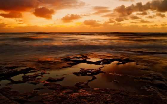 оранжевое, небо, природа