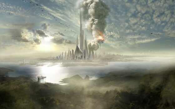 fantasy, wallpaper, wallpapers, hd, город, взрыв, game, остров, корабли, дымка, шпиль, облака, places, images, tweet, картинку,