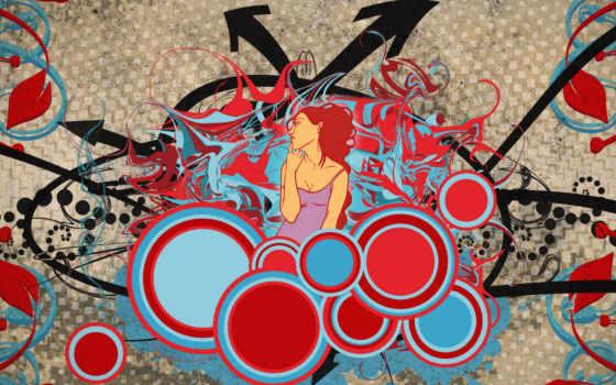 движении, жизнь, vector, artistic, графити, разное, стене,